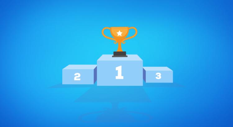 Troféu no primeiro lugar do pódio em um fundo azul, simbolizando a corrida para ficar na frente dos concorrentes