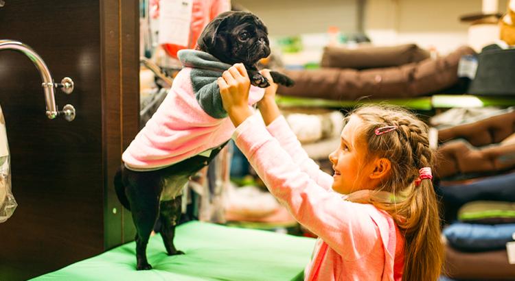 Menina brincando com um filhotinho de cachorro que está com uma roupinha dentro de um pet shop.